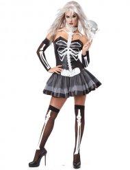 Costume da scheletro sexy bianco e nero per donna