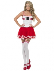 Costume da Miss Maratona rosso e bianco per donna