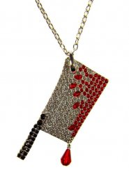 Collana ascia insanguinata con strass