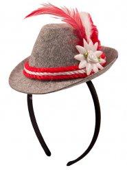 Mini cappello bavarese grigio e rosso per donna