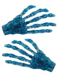 2 Fermagli per capelli mani da scheletro blu