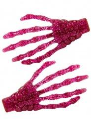 2 Fermagli per capelli mani da scheletro rosa