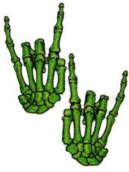 2 toppe mani scheletro verdi halloween