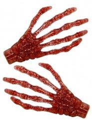 2 Fermagli per capelli mani da scheletro rosse