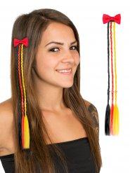 Pinza per capelli con trecce nere rosse e gialle