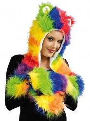 Cappello peluche multicolore con guanti adulto
