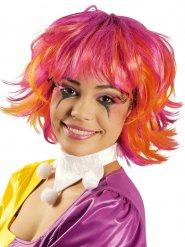 Parrucca corta fucsia e arancione per donna