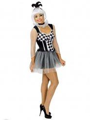 Costume da clown Arlecchino per donna bianco e nero