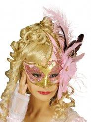Maschera veneziana con piume e fiore rosa per adulto