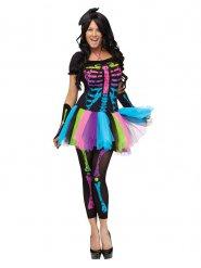 Costume scheletro multicolore donna halloween