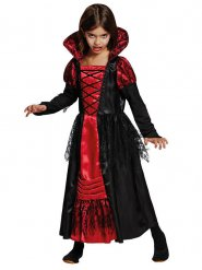 Costume da vampiro nero e rosso per bambina