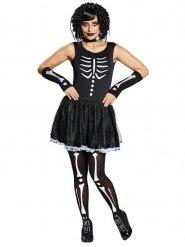 Costume da scheletro in nero e bianco per donna