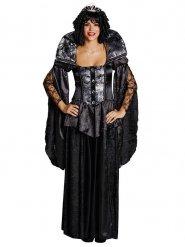 Costume da regina medievale nero per donna