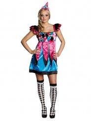 Costume da Pierrot blu e rosa per donna