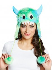 Cappello mostro con pelo verde e blu