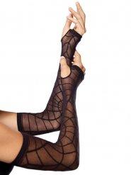 Mezzi guanti lunghi neri con ragnatela per donna