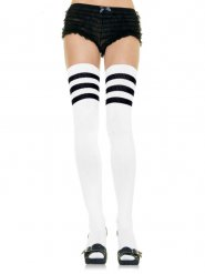 Calze parigine bianche con righe nere per donna
