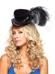 Mini cappello a cilindro con piuma per adulto steampunk
