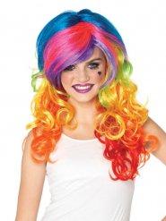 Parrucca multicolore deluxe per donna