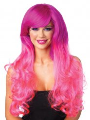 Parrucca lusso da Sirena lunghi capelli fucsia