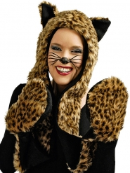 Cappello con guanti da leopardo
