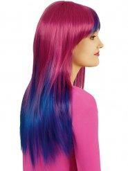 Parrucca lunga fucsia e blu per donna