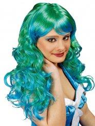 Parrucca  verde e turchese da sirena per donna