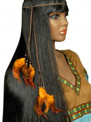 Collana indiana con piume arancioni adulto