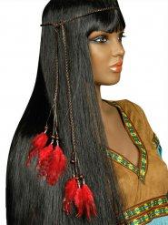 Fascia per capelli indiana con piume rosse adulto