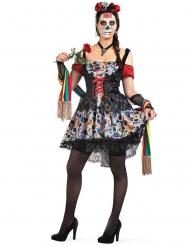 Costume dia de los muertos colorato per donna