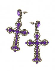 Orecchini croce gotica con strass viola