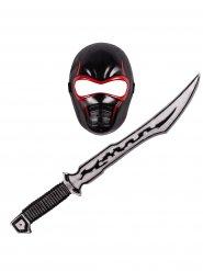 Kit ninja rosso e nero per bambino