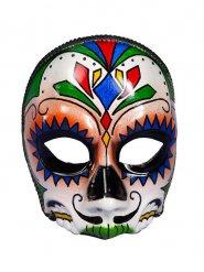 Mezza maschera teschio Dia de los murtos per adulto