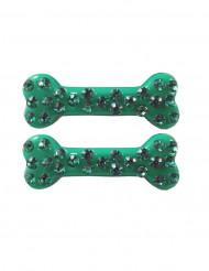 2 Fermagli per capelli osso verde con strass 6 cm