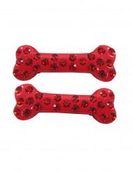 2 Fermagli per capelli osso rosso con strass 6 cm