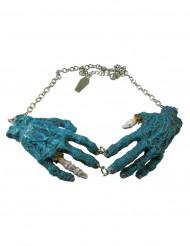 Collana Mani zombie blu Halloween