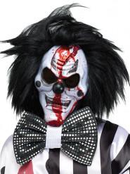 Maschera horror da clown con parrucca nera halloween