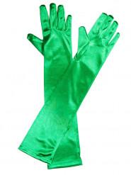 Guanti lunghi satinati verdi per adulti