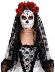 Maschera dia de los muertos con rose rosse adulto halloween