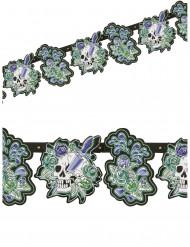 Ghirlanda teschi e fiori 180 x 15 cm