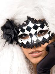 Maschera veneziana a scacchi bianco e nero