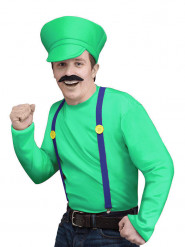 Costume da idraulico dei videogiochi verde per uomo