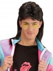 Parrucca mullet castana con occhiali