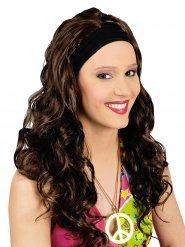 Parrucca castana capelli lunghi con fascia integrata
