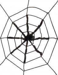 Decorazione per Halloween Ragno nero gigante su ragnatela