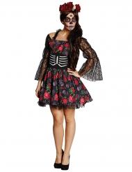 Costume scheletro e rose dia de los muertos per donna halloween