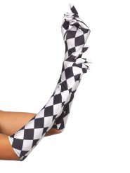Guanti lunghi a scacchi bianchi e neri
