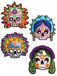4 maschere decorative Dia de los muertos, 30cm