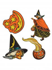 4 decorazioni strega Halloween