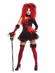 Costume giullare del male rosso e nero per donna